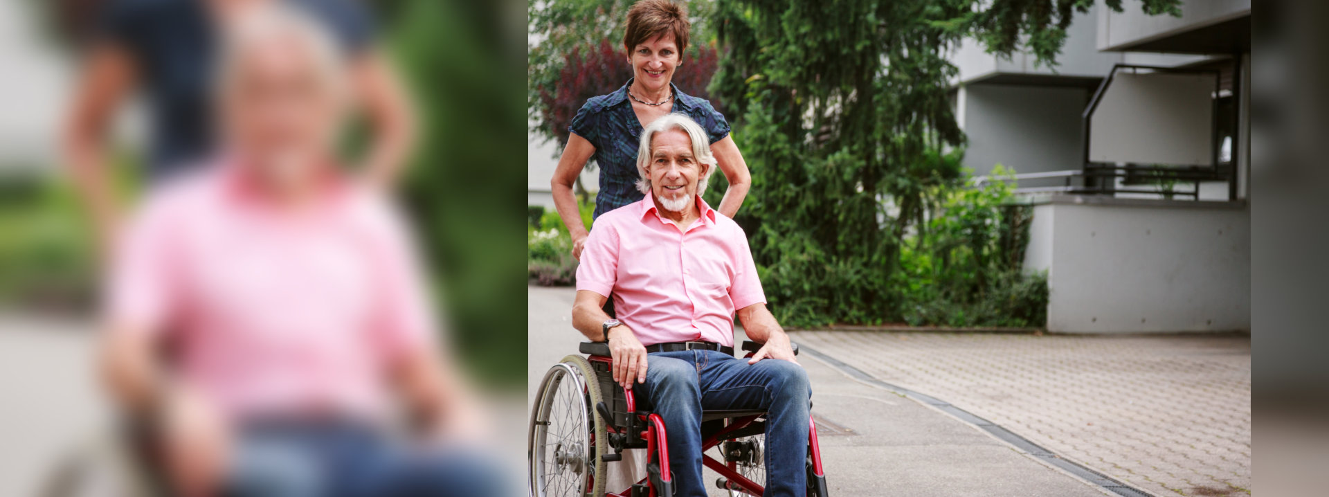 caregiver and senior in a wheelchair